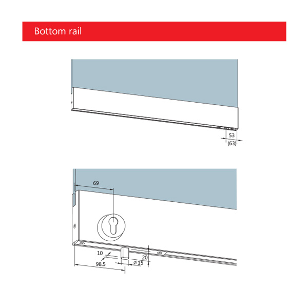 DORMA TP door rail technical bottom rail