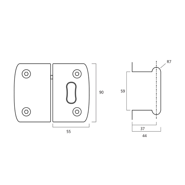 HARDEE RL042 Glass Door Lock With Emergency Coin Release And Indicator technical
