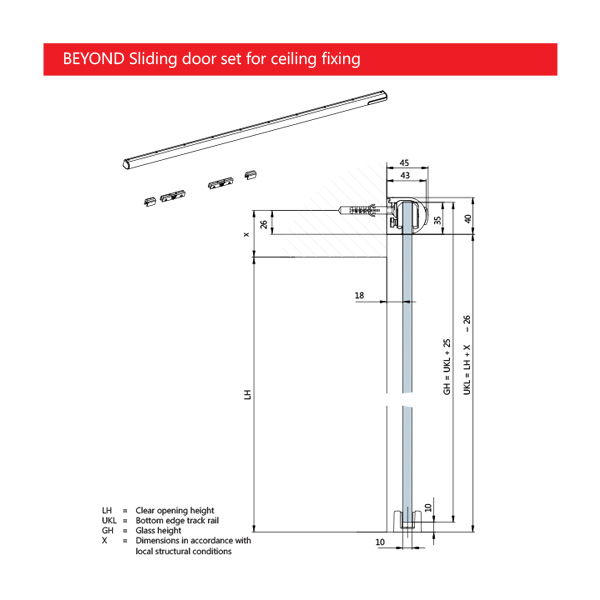 Dorma BEYOND Sliding Door System Ceiling Fixing