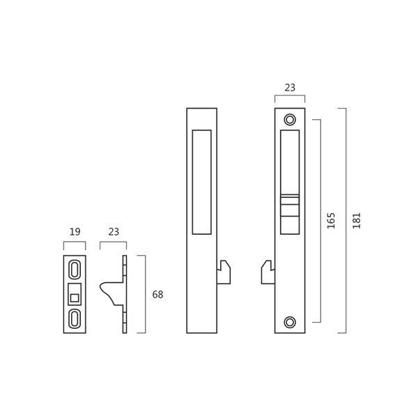 Resilient A5 Sliding Door Flush Lock Without Key Technical