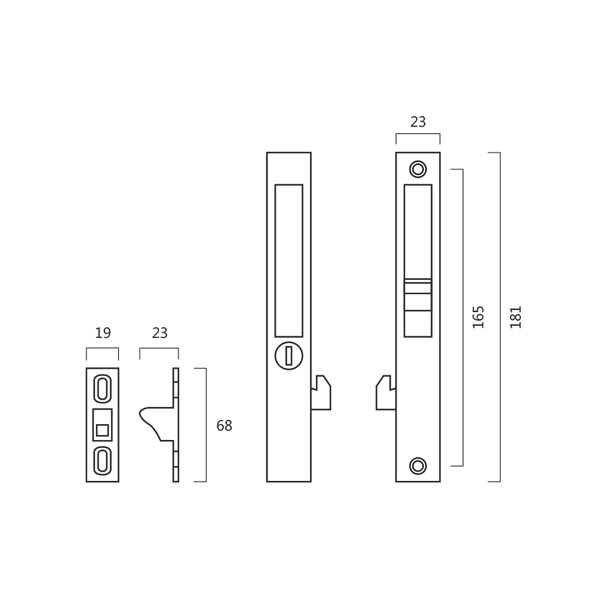 Resilient A6 Sliding Door Flush Lock With Key Technical