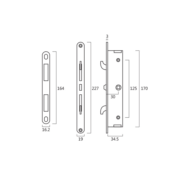 Resilient CWK 92K Sliding Door Lock with Handle for Double Leaves Door Technical