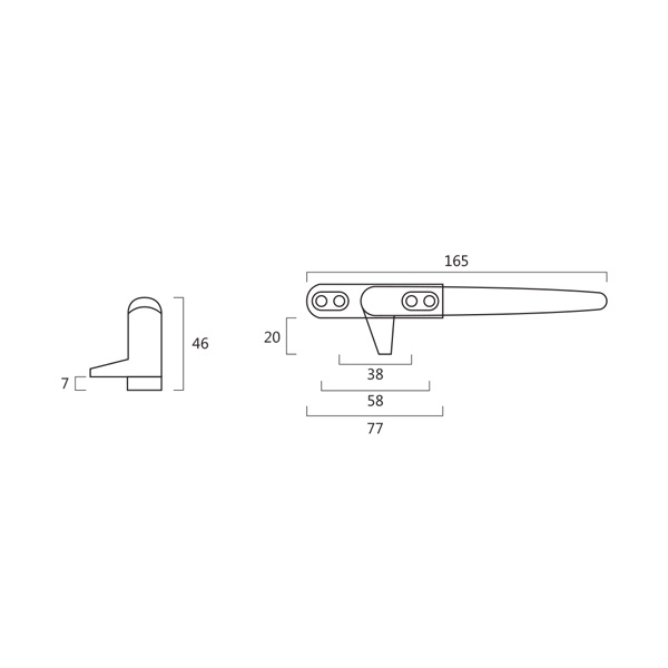 Resilient RH 4330 B Casement Window Handle With Wedge And Button To Unlock Technical