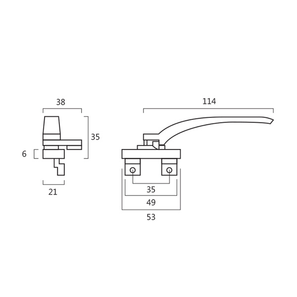 Resilient RH 802 Curtain Wall Window Handle Technical