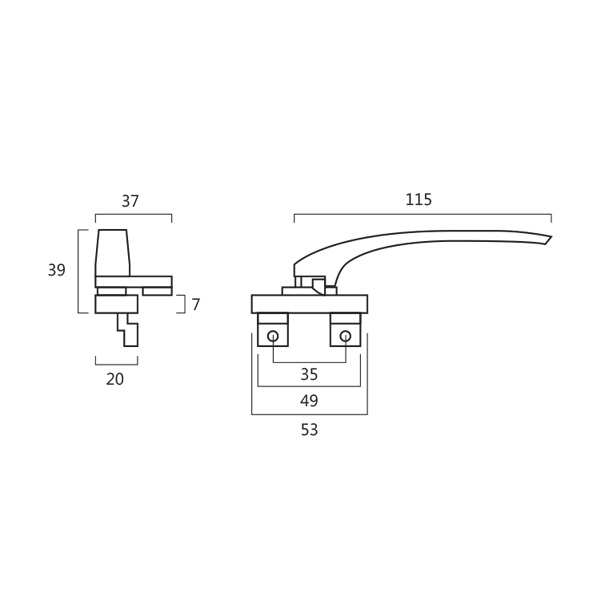 Resilient RH 805 Curtain Wall Window Handle Technical